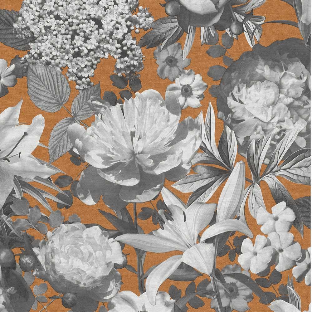 тапет Сезони сиви цветя оранж