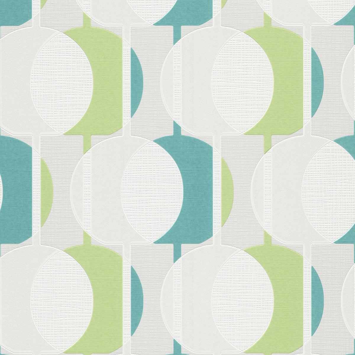 тапет Бестселър 3 зелени кръгове бяло