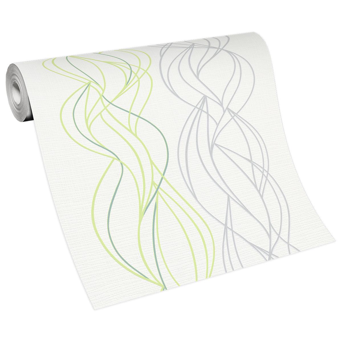 тапет Бестселър 3 зелени вълни бяло