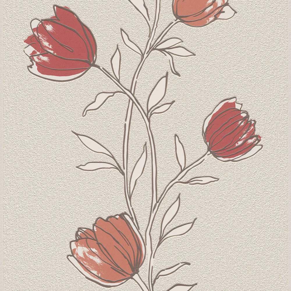 тапет Trend Nature червени лалета сиво-беж