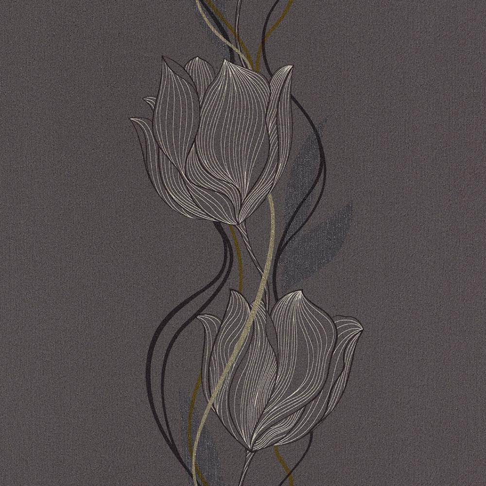 тапет Trend Nature бели лалета сиво
