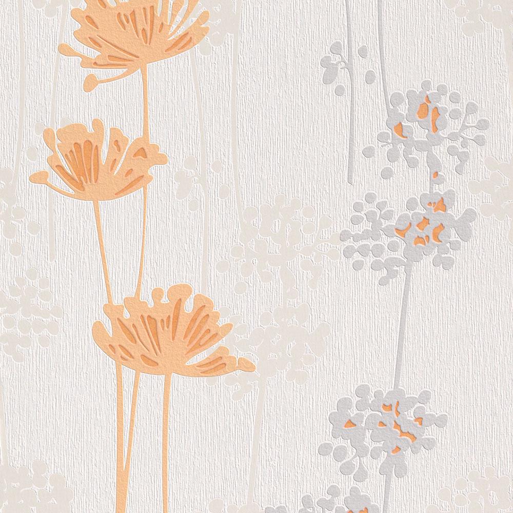 тапет Trend Nature оранж цветя бяло