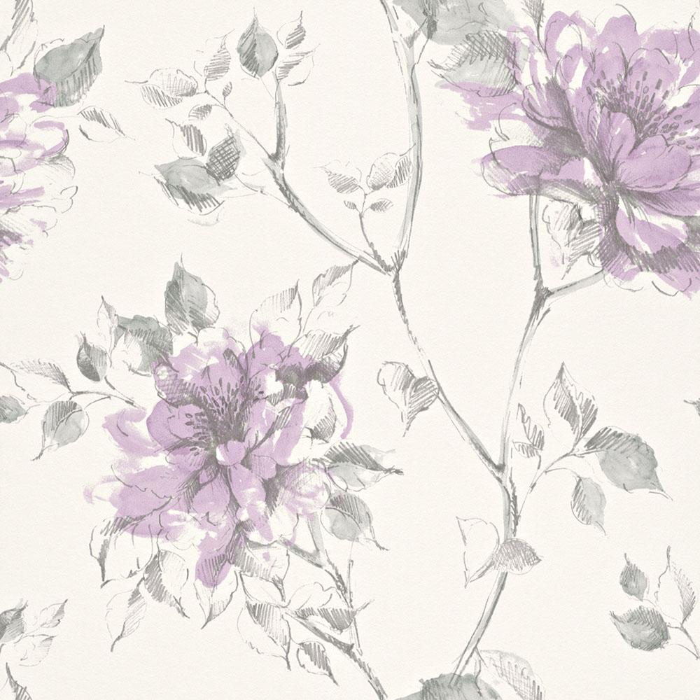 тапет Trend Nature лилави цветя бяло