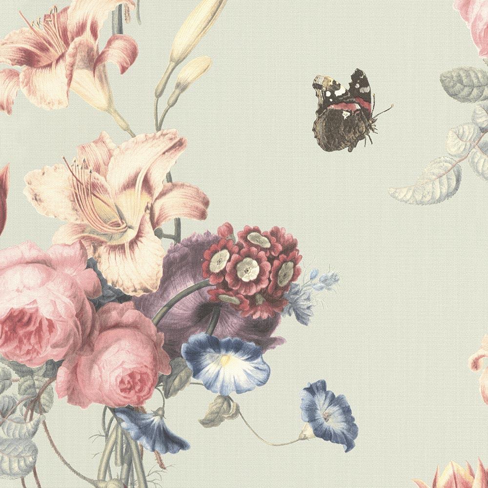 тапет Инспирейшън розови цветя тюркоаз