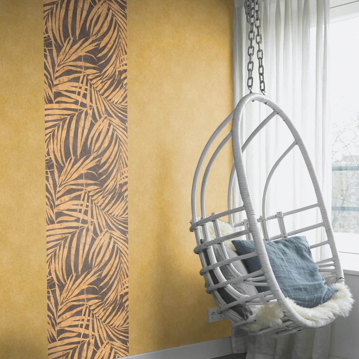 Тапет Инспирейшън 2 жълти палмови клонки кафяво