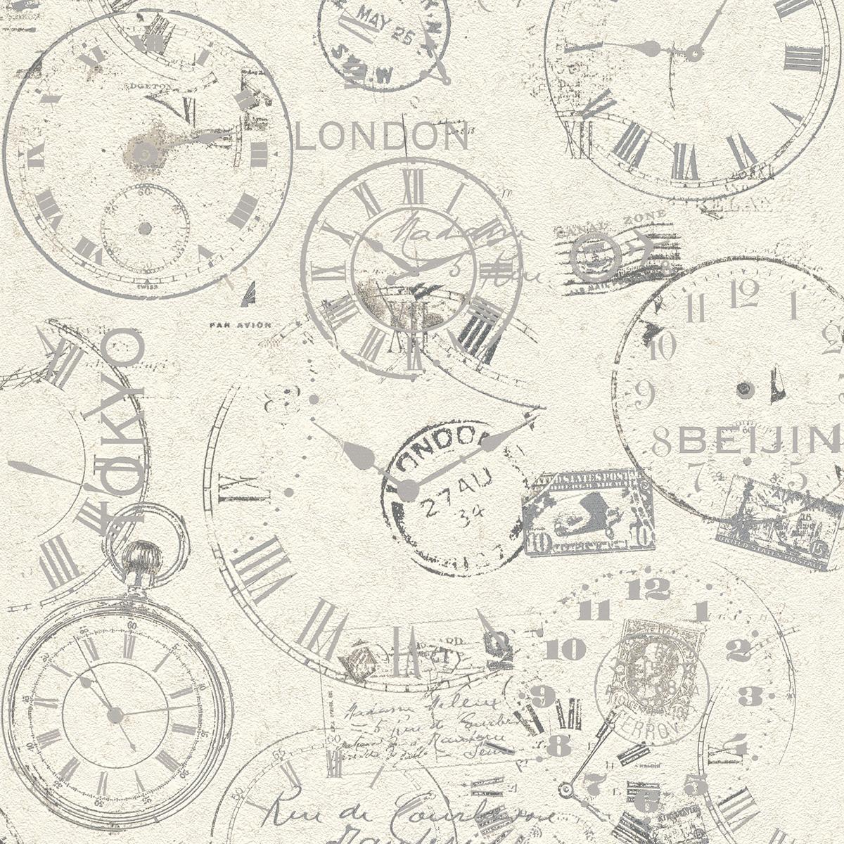 Тапет Инспирейшън 2 сиви часовници бял