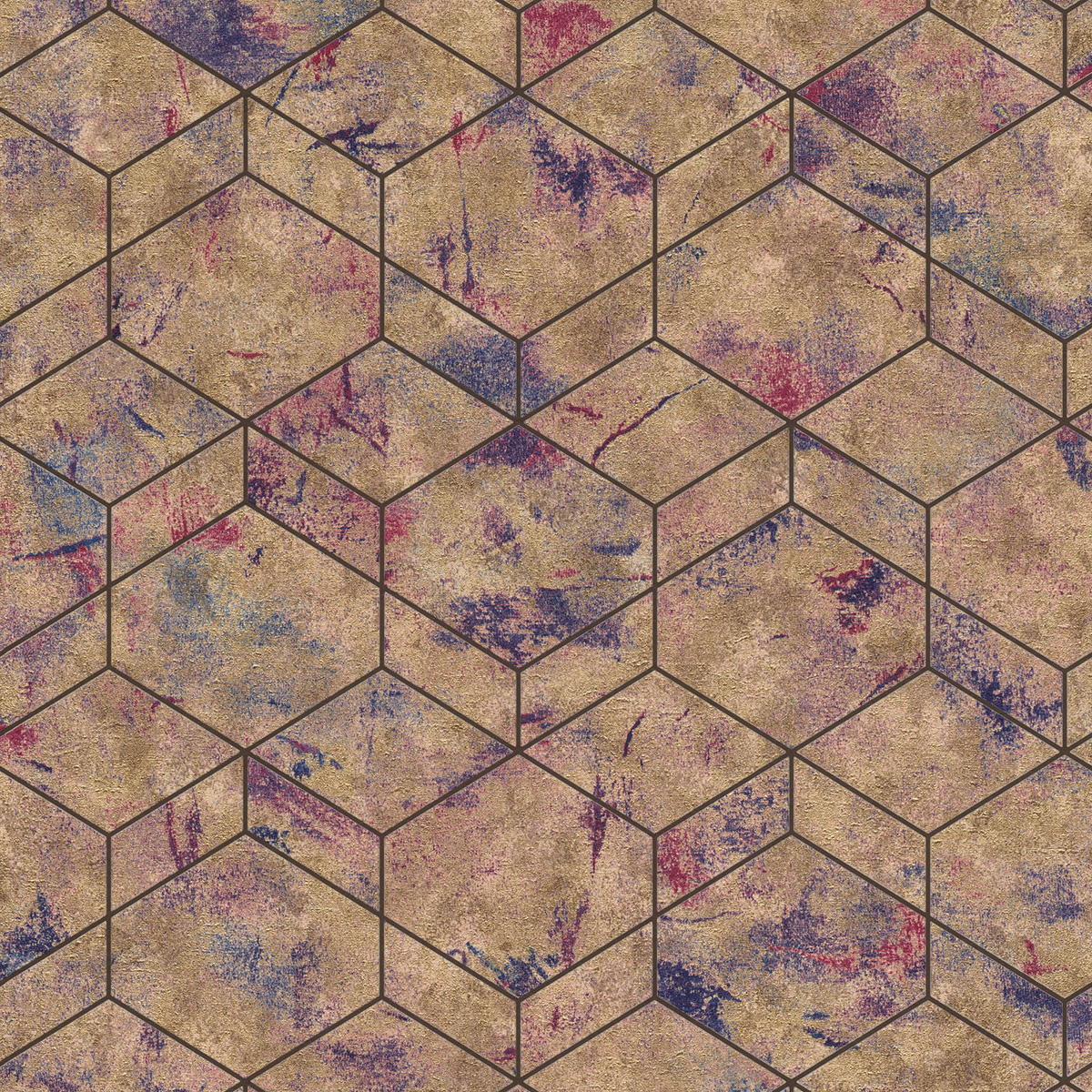 Тапет Инспирейшън 2 3D кубове бронз