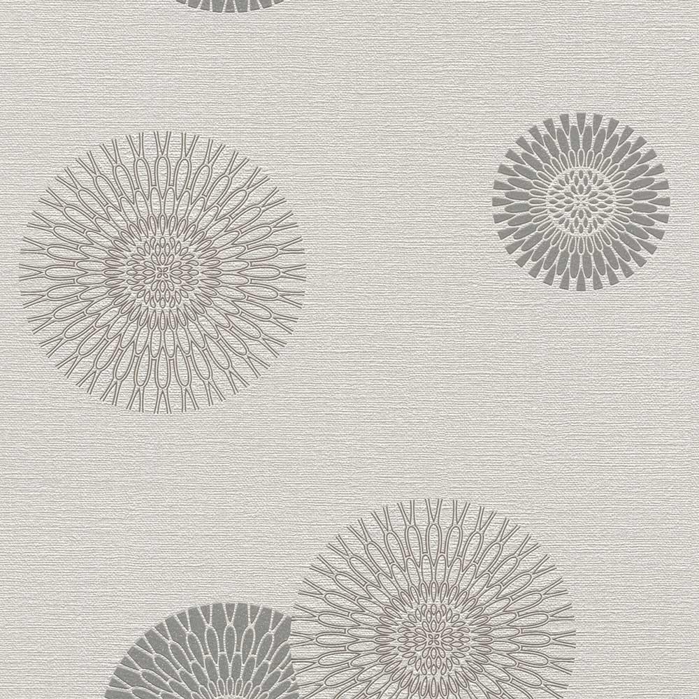 тапет #СмениТапетите сребърни цветя-орнаменти сиво