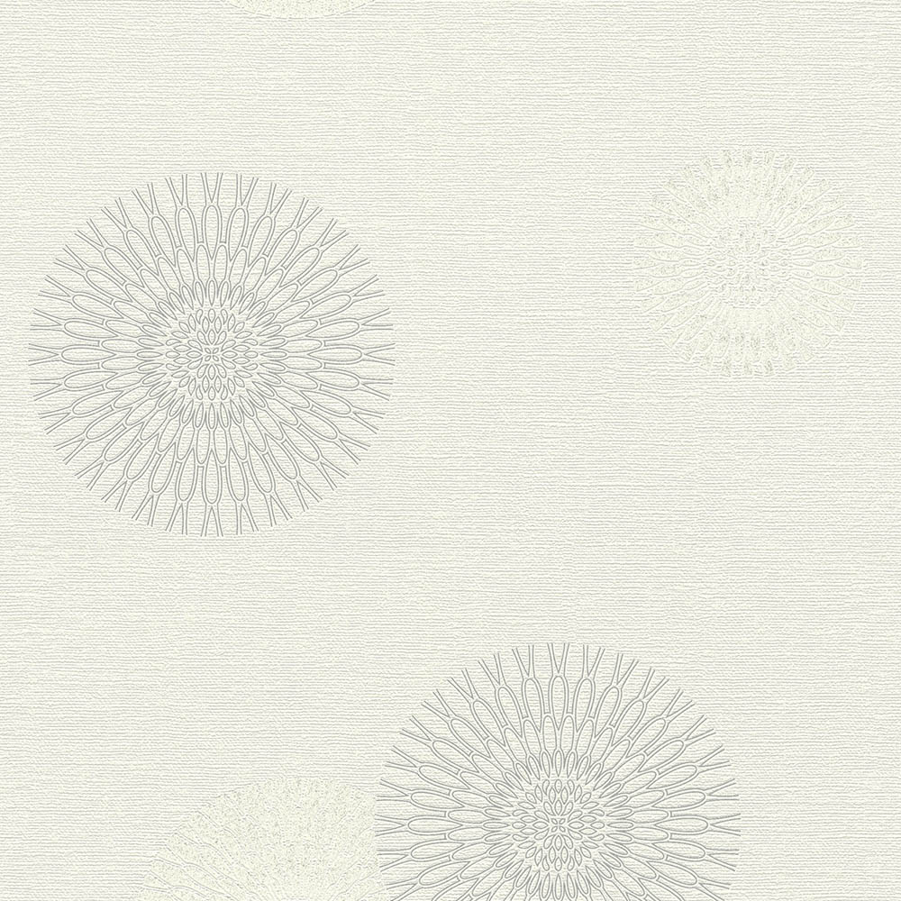 тапет #СмениТапетите сребърни цветя-орнаменти сметана