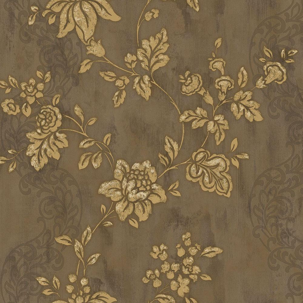 тапет Theodora златно цвете кафяво