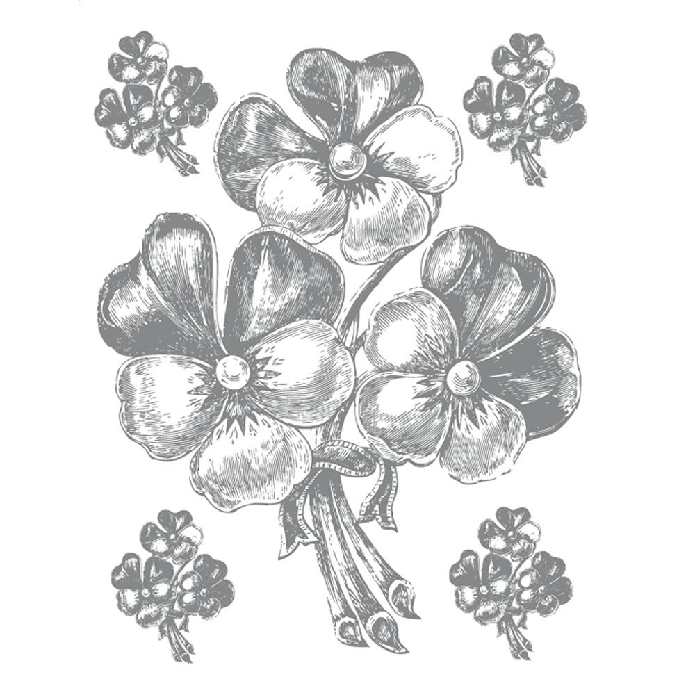 Стикери A&G 65×85 см, 1ч., букет сребро