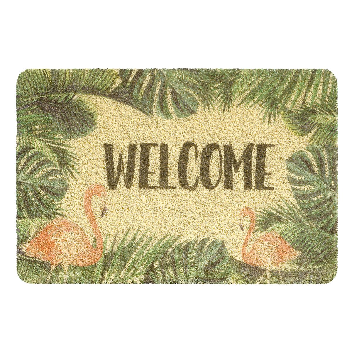 изтривалка за вън Кърли Принт 40х60 welcome фламинго