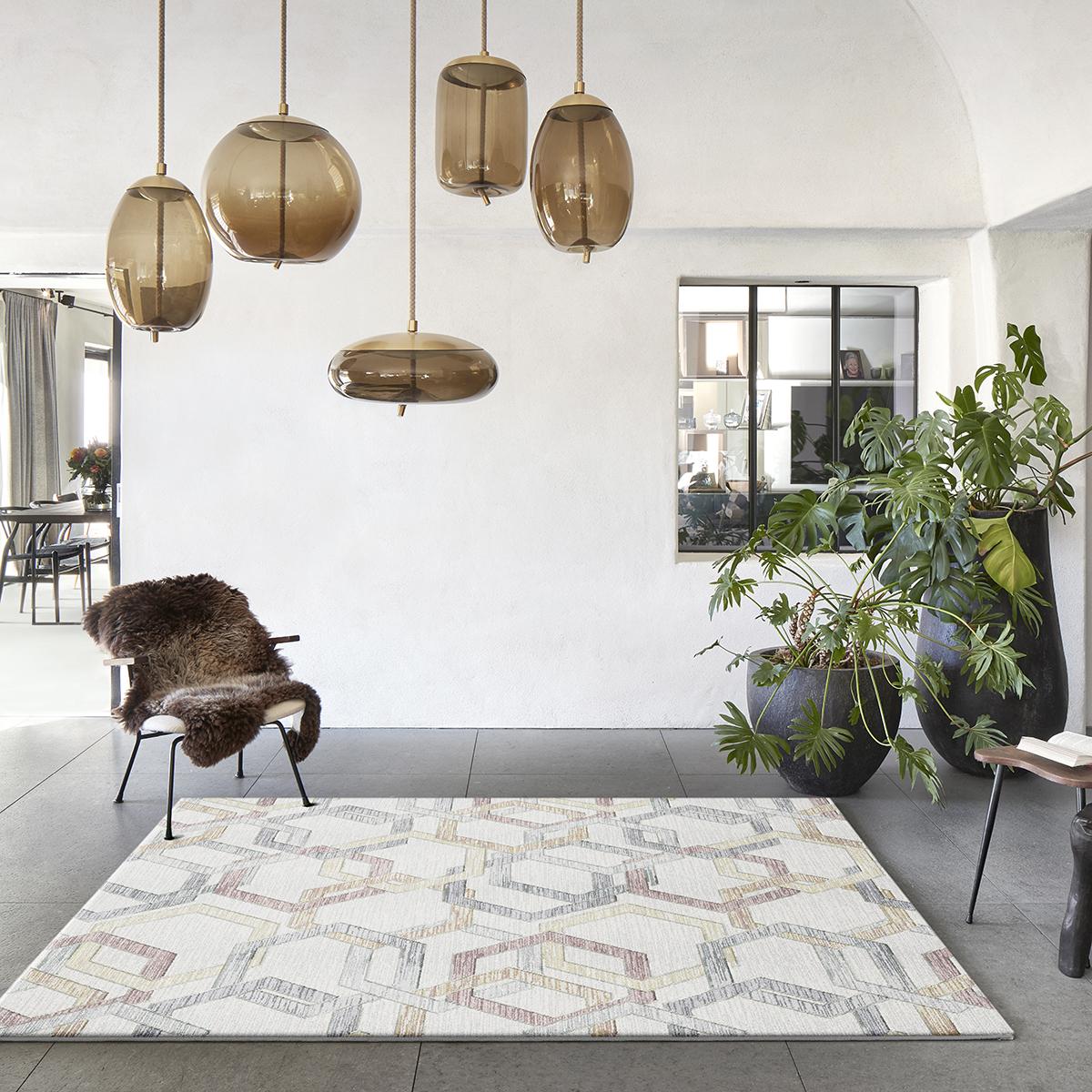 Килим Argentum цветна плетеница крем