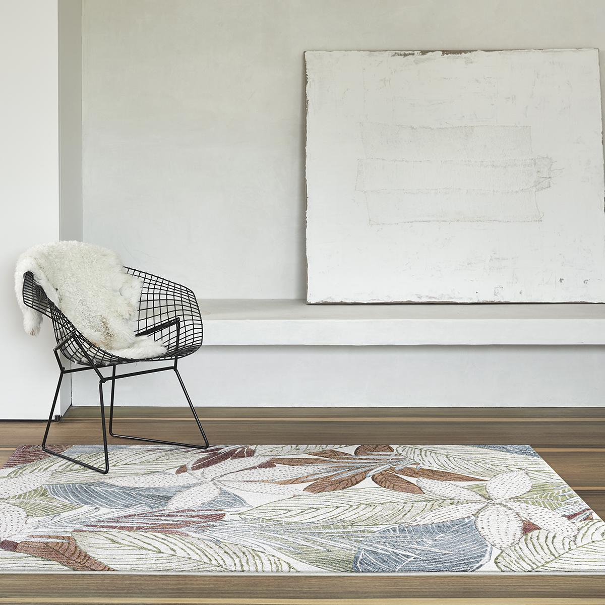 Килим Argentum синьозелени листа крем