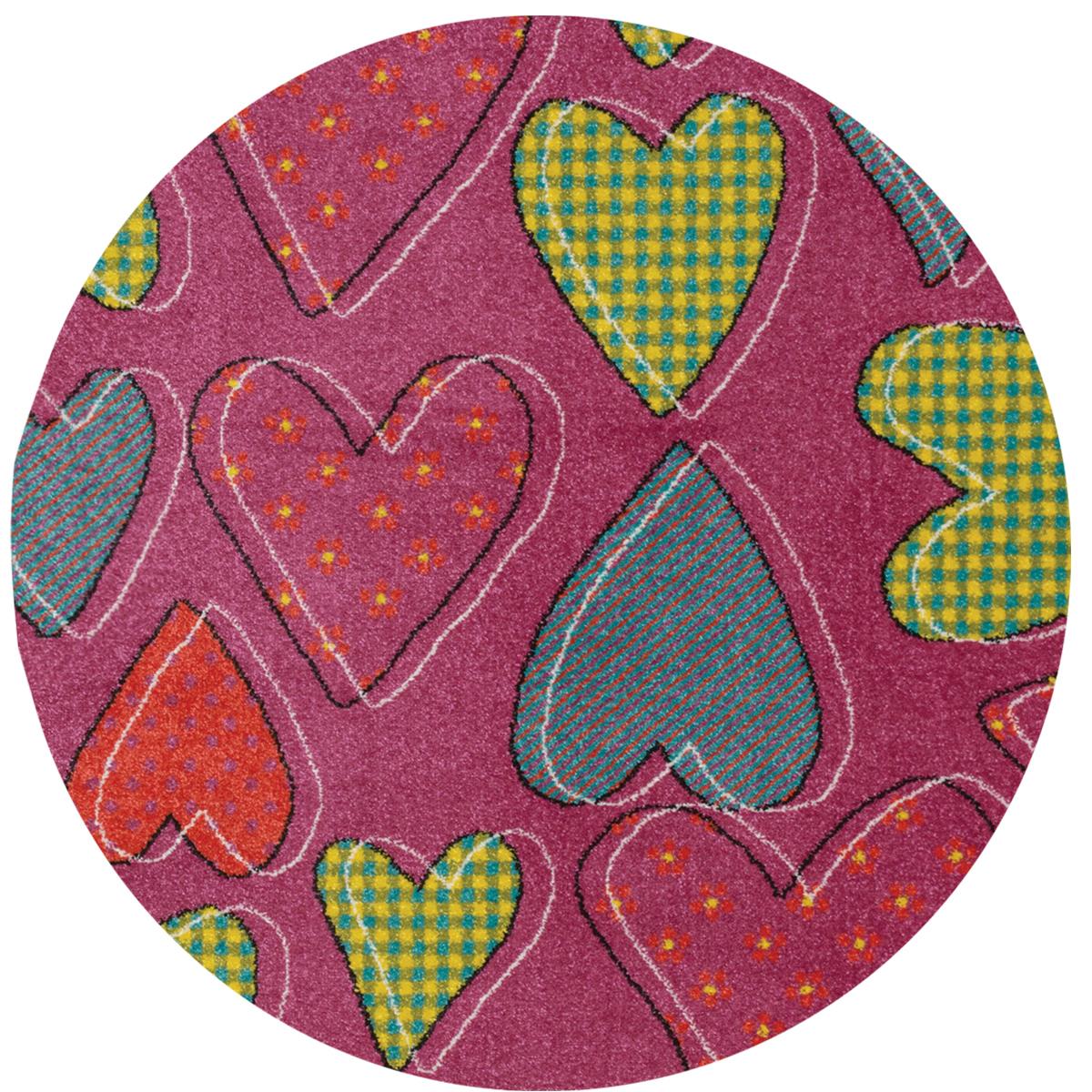 Килим Плей цветни сърца розов