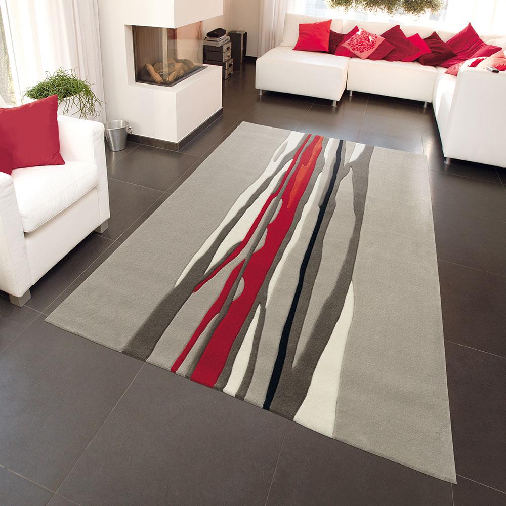 килим Spirit – Red Trace червено сиво черти