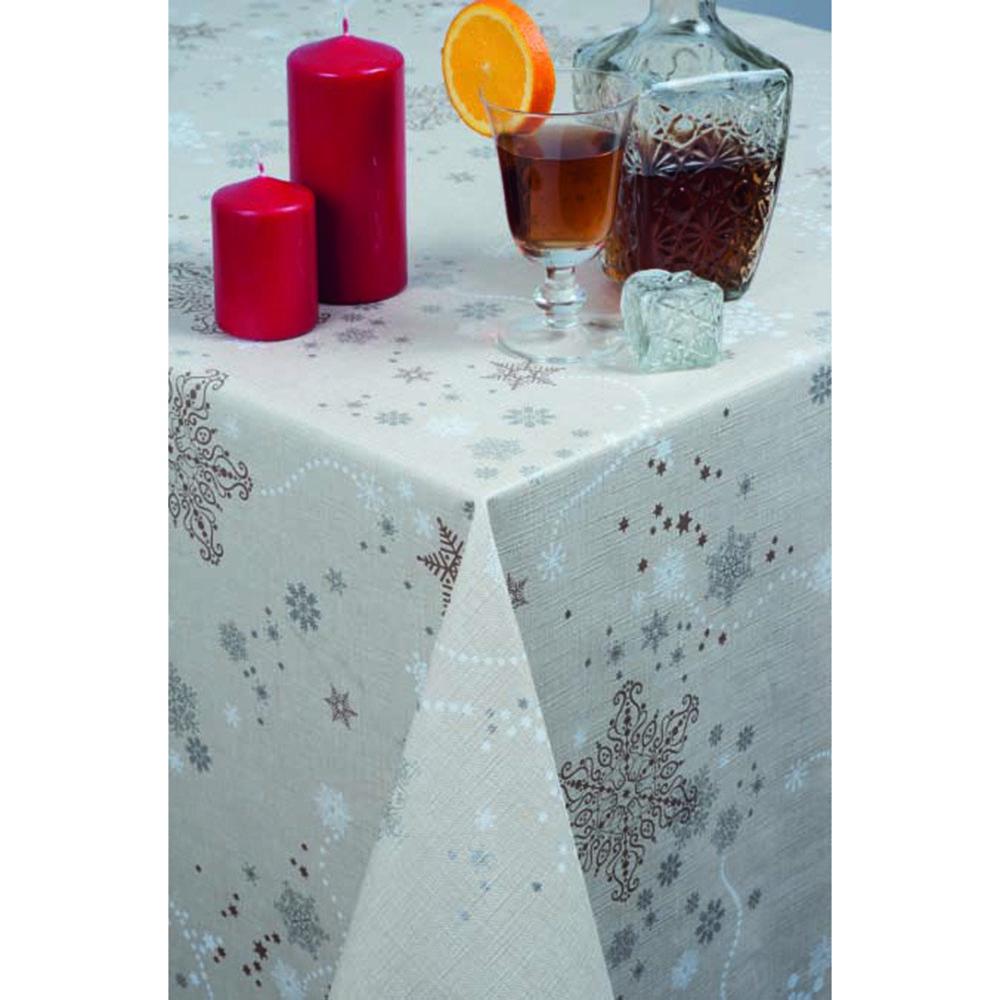 мушама Алдеко Треф 140 см/л.м. Коледна беж звезди