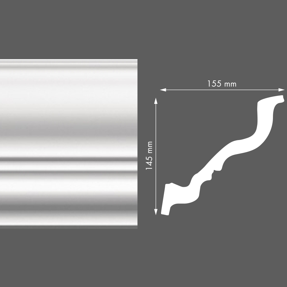 стиропорен корниз LX155 155х145/2м