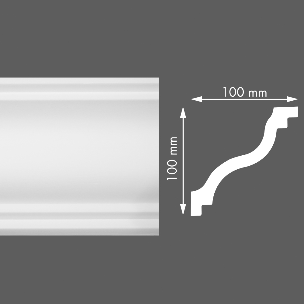 стиропорен корниз LX165 100х100/2м
