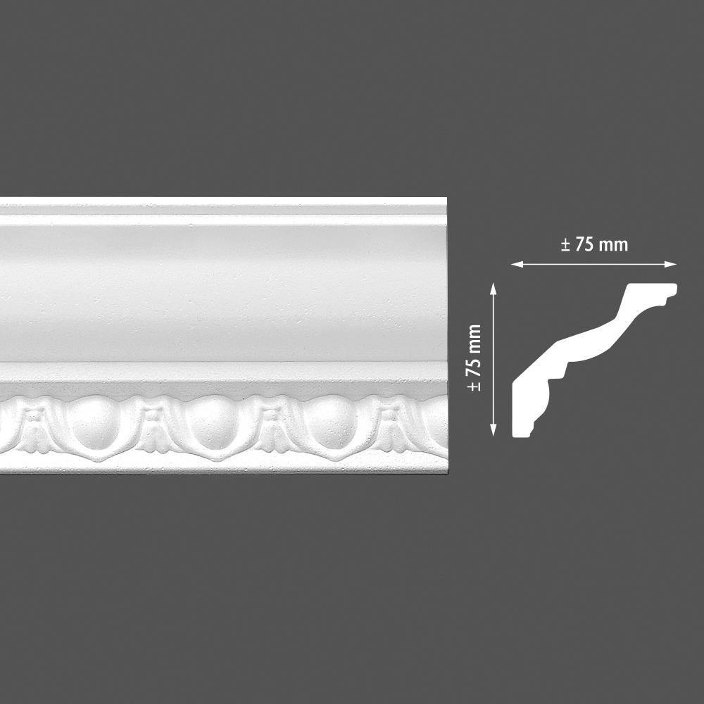 стиропорен корниз E10 75х75/2м