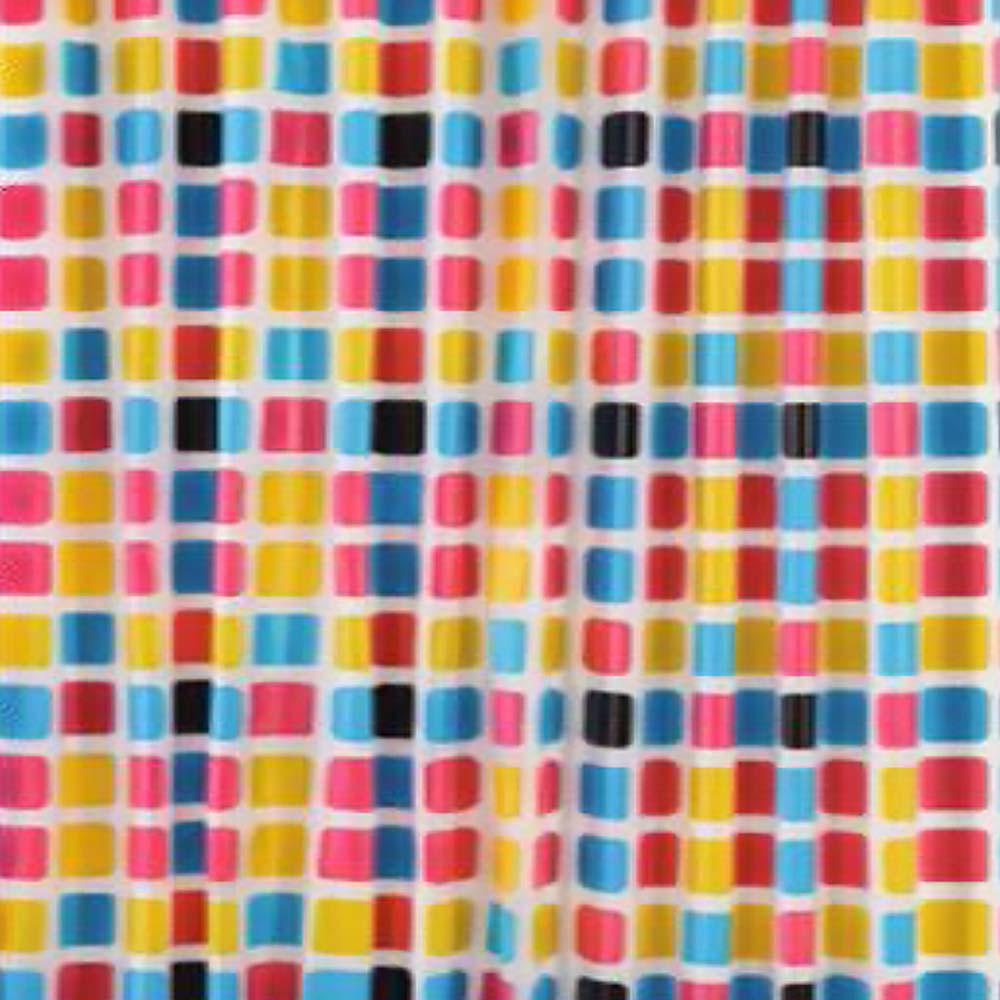 PEVA завеса за баня цветни квадрати