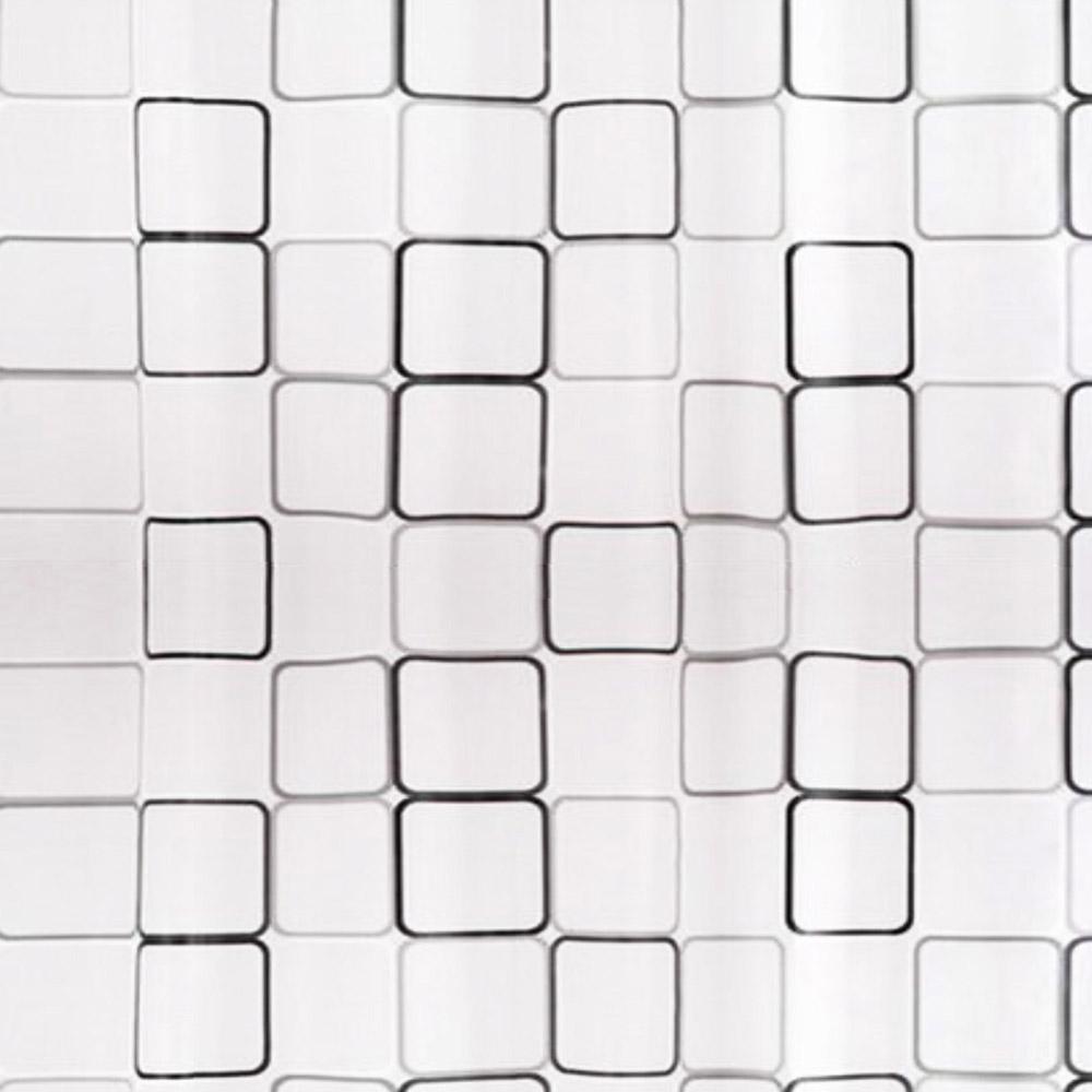 PEVA завеса за баня черно-бели квадрати